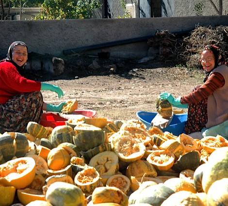 Women Carving Pumpkins