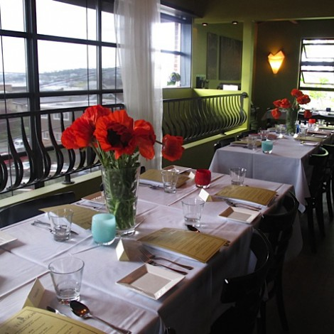 Mezzanine with Fresh Flowers and View of Lake Union